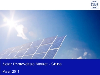 Solar Photovoltaic Market in China 2011
