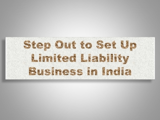 Step Out to Set Up Limited Liability Business in India