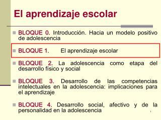 El aprendizaje escolar