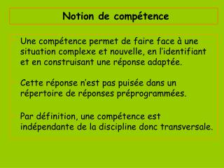 Notion de comp tence