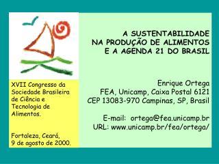 A SUSTENTABILIDADE  NA PRODU  O DE ALIMENTOS  E A AGENDA 21 DO BRASIL   Enrique Ortega FEA, Unicamp, Caixa Postal 6121 C