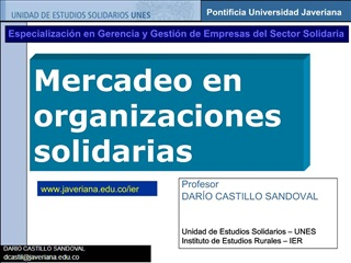 Mercadeo en organizaciones solidarias