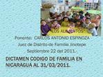 DICTAMEN CODIGO DE FAMILIA EN NICARAGUA al 31