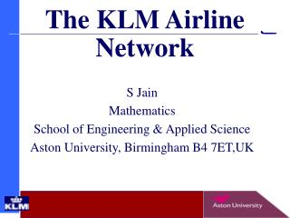 The KLM Airline Network
