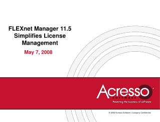 FLEXnet Manager 11.5 Simplifies License Management