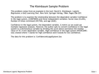 The Kleinbaum Sample Problem
