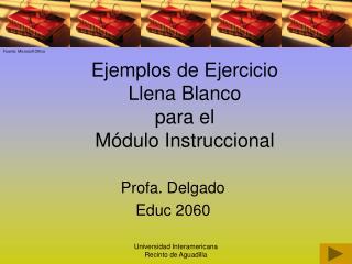 Ejemplos de Ejercicio  Llena Blanco  para el  M dulo Instruccional