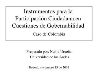 Instrumentos para la Participaci n Ciudadana en Cuestiones de Gobernabilidad