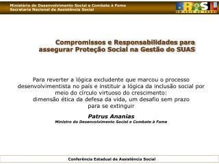Compromissos e Responsabilidades para  assegurar Prote  o Social na Gest o do SUAS