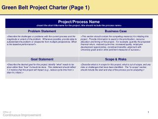Green Belt Project Charter Page 1