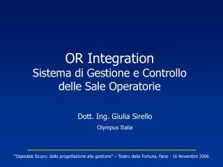 OR Integration Sistema di Gestione e Controllo delle Sale Operatorie