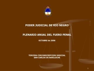 PODER JUDICIAL DE RIO NEGRO   PLENARIO ANUAL DEL FUERO PENAL  OCTUBRE de 2006     TERCERA CIRCUNSCRIPCION JUDICIAL SAN C