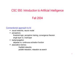 CSC 550: Introduction to Artificial Intelligence  Fall 2004