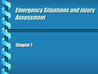 Emergency Conditions and Management