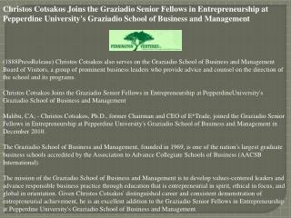 Christos Cotsakos Joins the Graziadio Senior Fellows in Entr