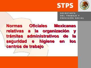 Normas Oficiales Mexicanas relativas a la organizaci n y tr mites administrativos de la seguridad e higiene en los centr