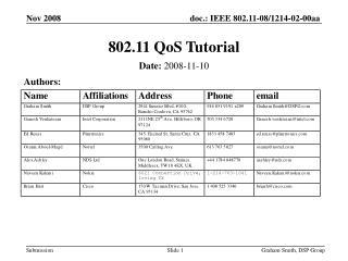 802.11 QoS Tutorial