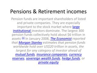 Pensions  Retirement incomes