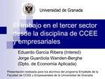 El trabajo en el tercer sector desde la disciplina de CCEE y empresariales