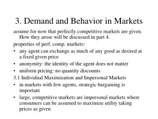 3. Demand and Behavior in Markets