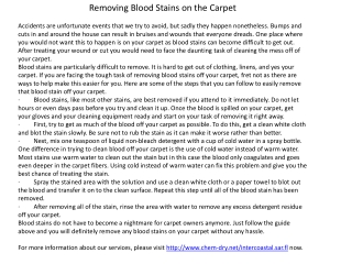 Removing Blood Stains on the Carpet