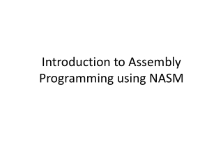 Introduction to Assembly Programming