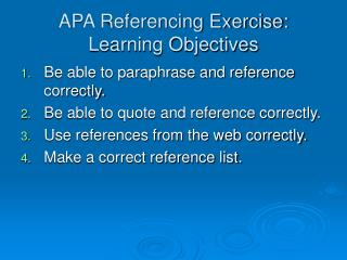 APA Referencing Exercise: Learning Objectives