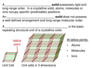 A ___________________________ solid possesses rigid and long-range order.  In a crystalline solid, atoms, molecules or i