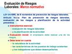 Evaluaci n de Riesgos Laborales: Marco normativo