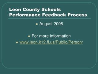Leon County Schools Performance Feedback Process