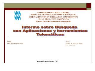 Informe sobre B squeda  con Aplicaciones y herramientas  Telem ticas