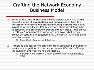 Crafting the Network Economy Business Model