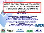 COMO ESTABLECER LA FRECUNECIA DEL CONTROL DE CALIDAD INTERNO Y EXTERNO EN EL LABORATORIO CLINICO