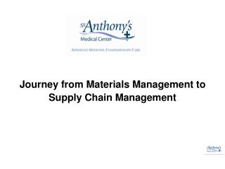 Journey from Materials Management to Supply Chain Management