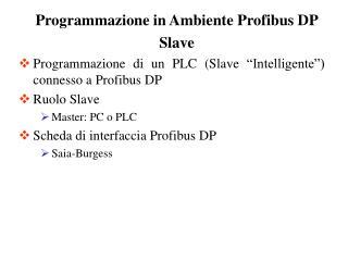 Programmazione di un PLC Slave  Intelligente   connesso a Profibus DP Ruolo Slave Master: PC o PLC Scheda di interfaccia