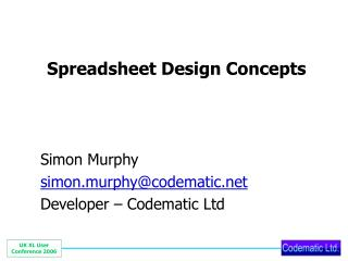 Spreadsheet Design Concepts