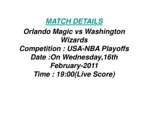 SoS Tv:**Kick off**Orlando Magic vs Washington Wizards LIVE