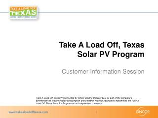 Take A Load Off, Texas Solar PV Program