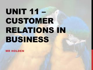 Unit 11   customer relations in business