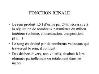 FONCTION RENALE