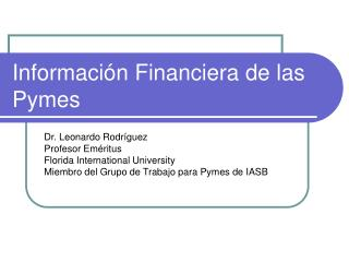 Informaci n Financiera de las Pymes