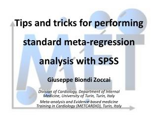 Tips and tricks for performing standard meta-regression  analysis with SPSS