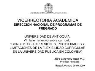 VICERRECTOR A ACAD MICA DIRECCI N NACIONAL DE PROGRAMAS DE PREGRADO