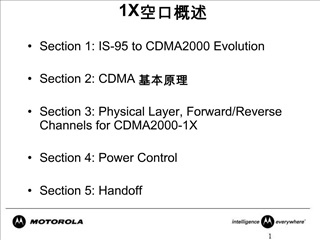 Section 1: IS-95 to CDMA2000 Evolution  Section 2: CDMA   Section 3: Physical Layer, Forward