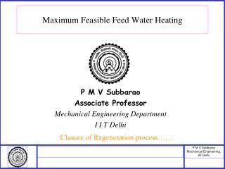 Maximum Feasible Feed Water Heating