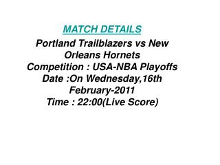 SoS Tv:**Kick off**Portland Trailblazers vs New Orleans Horn