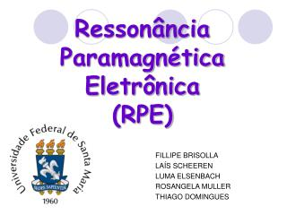 Resson ncia  Paramagn tica Eletr nica RPE
