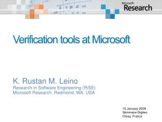 Verification tools at Microsoft