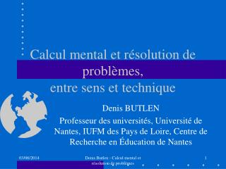 Calcul mental et r solution de probl mes, entre sens et technique