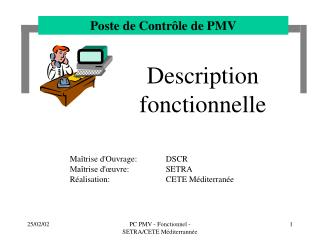 PC PMV - Fonctionnel - SETRA